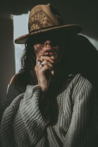 fashion portrait of a woman in a hat