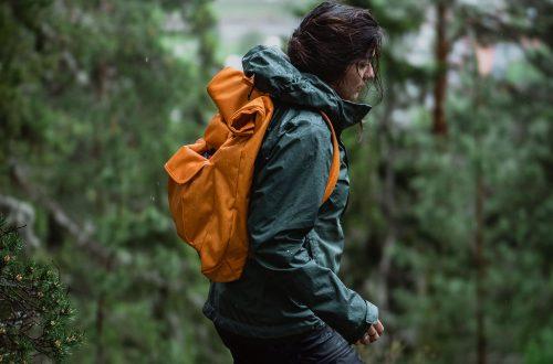woman hiking in the rain