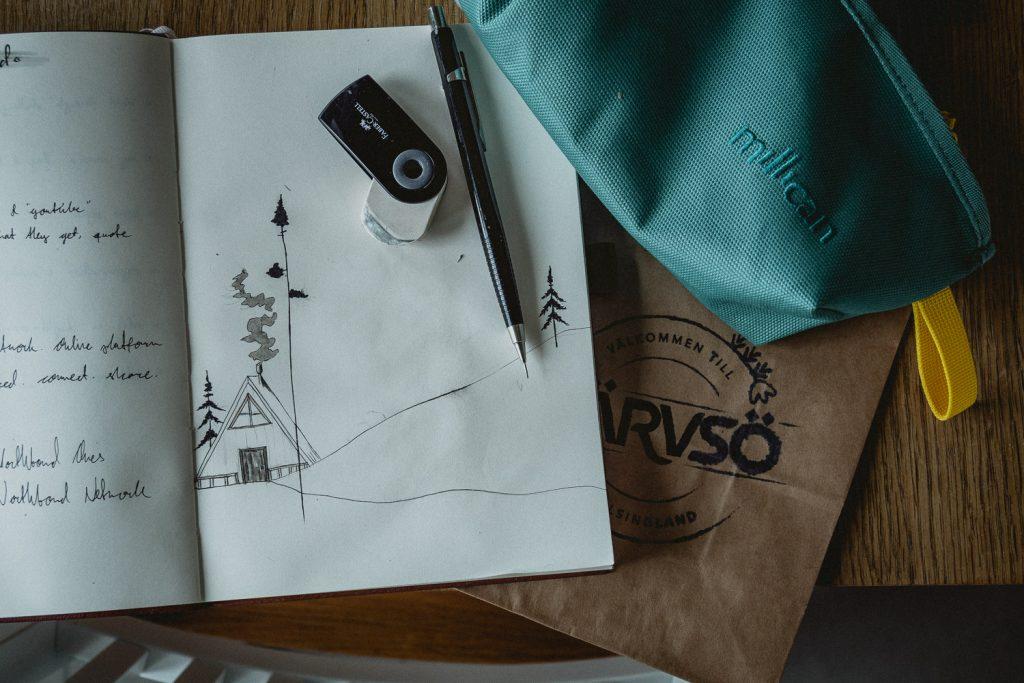 sketchbook and pencil case