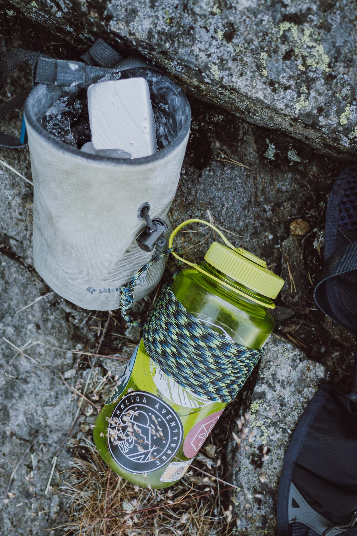 chalk bag and Nalgene