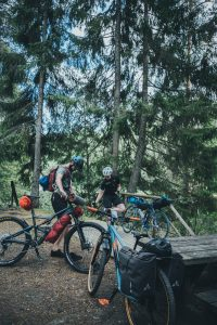 Bike packers in the forest