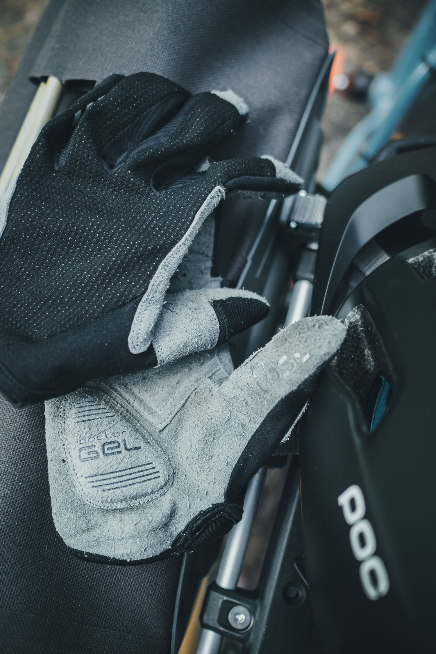 bike gloves and helmet
