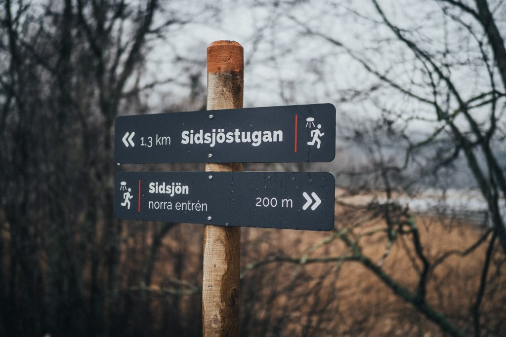 hiking signs at Sidsjön, getting out and seeing the beauty in bad weather