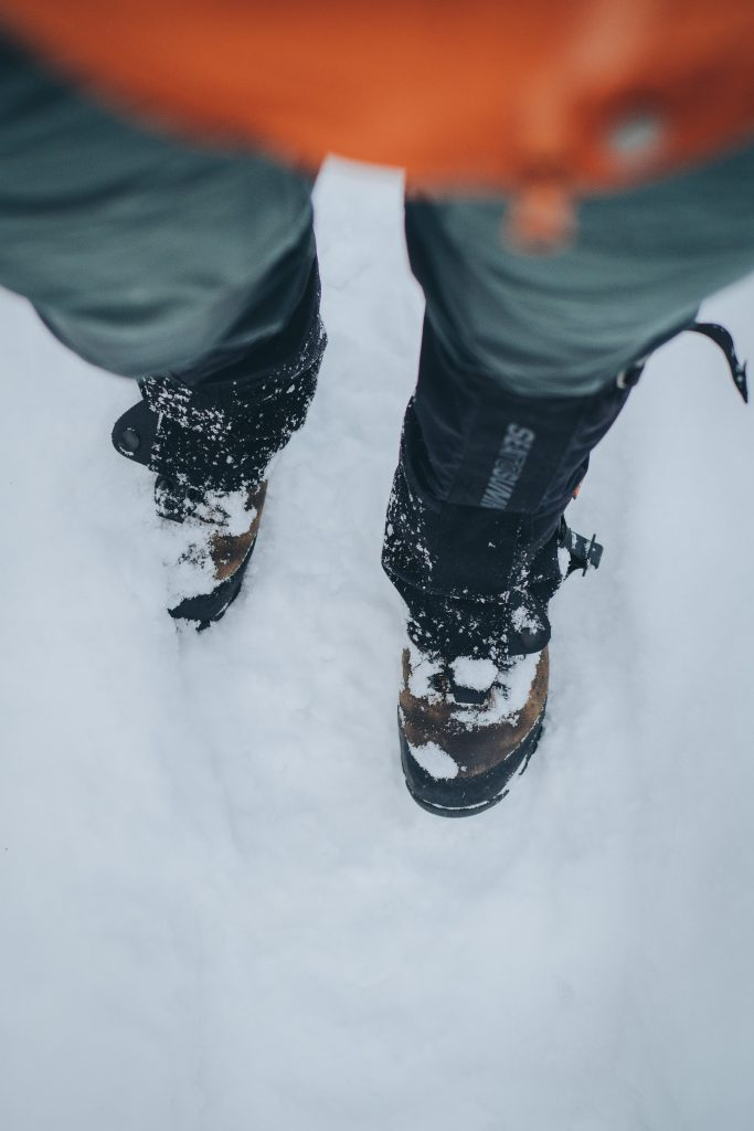 snow hiking with gaiters
