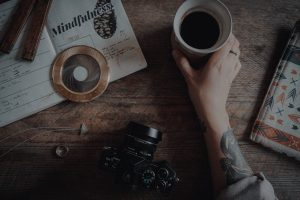 journaling, coffee and camera
