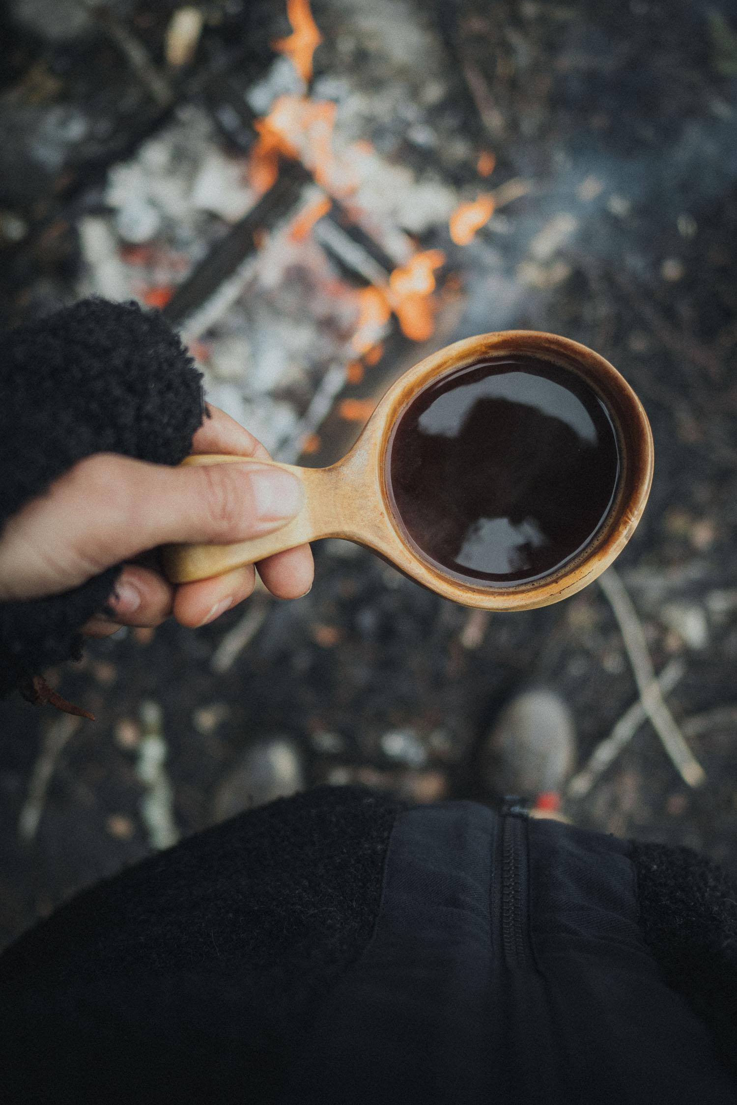 coffee in a wooden kuuksa