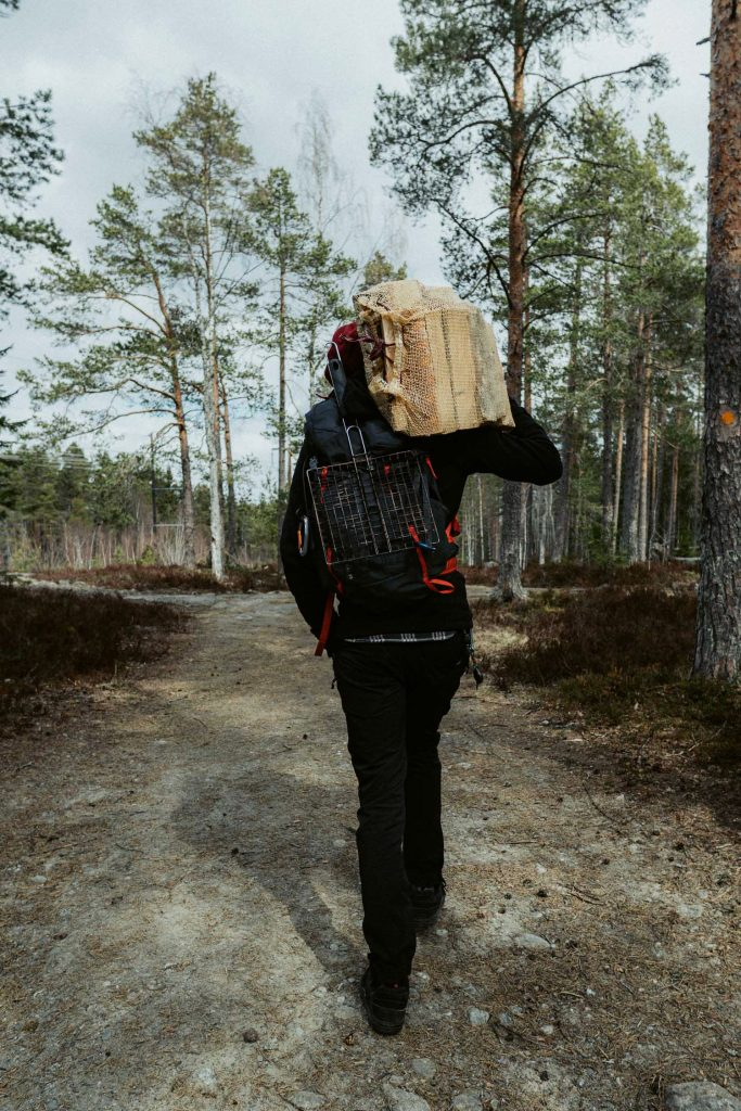 Man carrying firewood