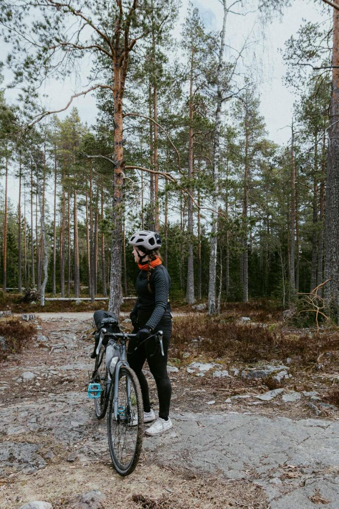 woman with a gravel bike
