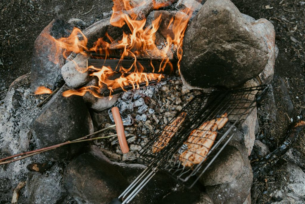 cooking food over open fire