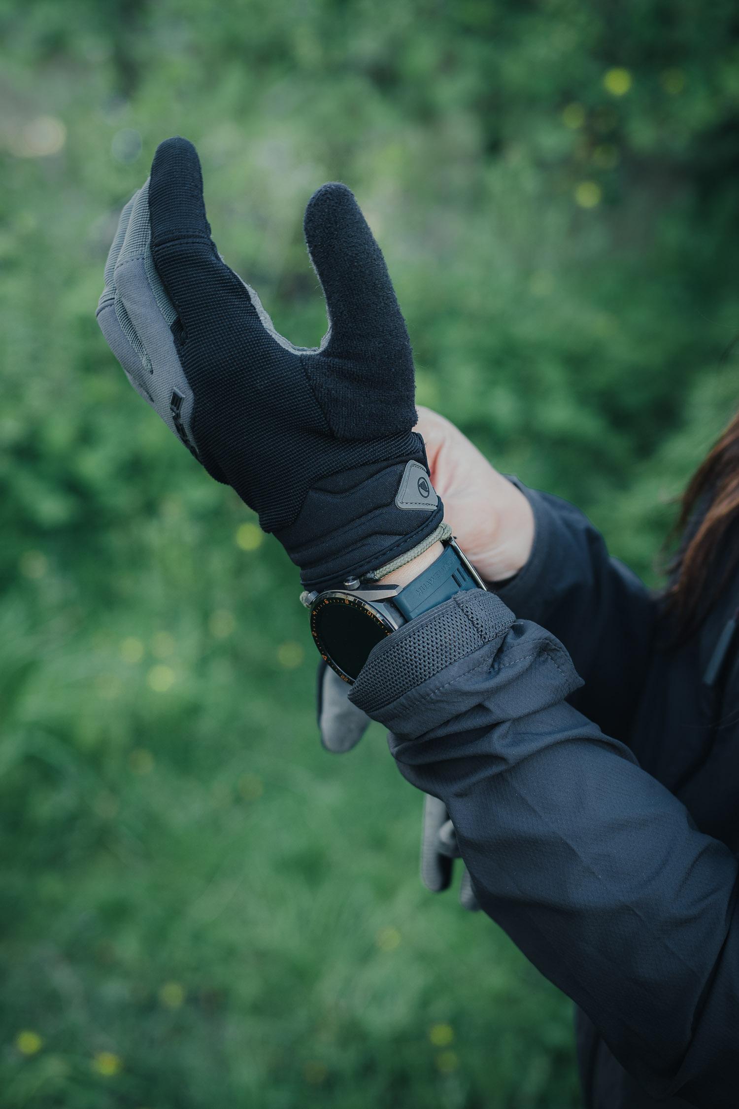 putting on bike gloves
