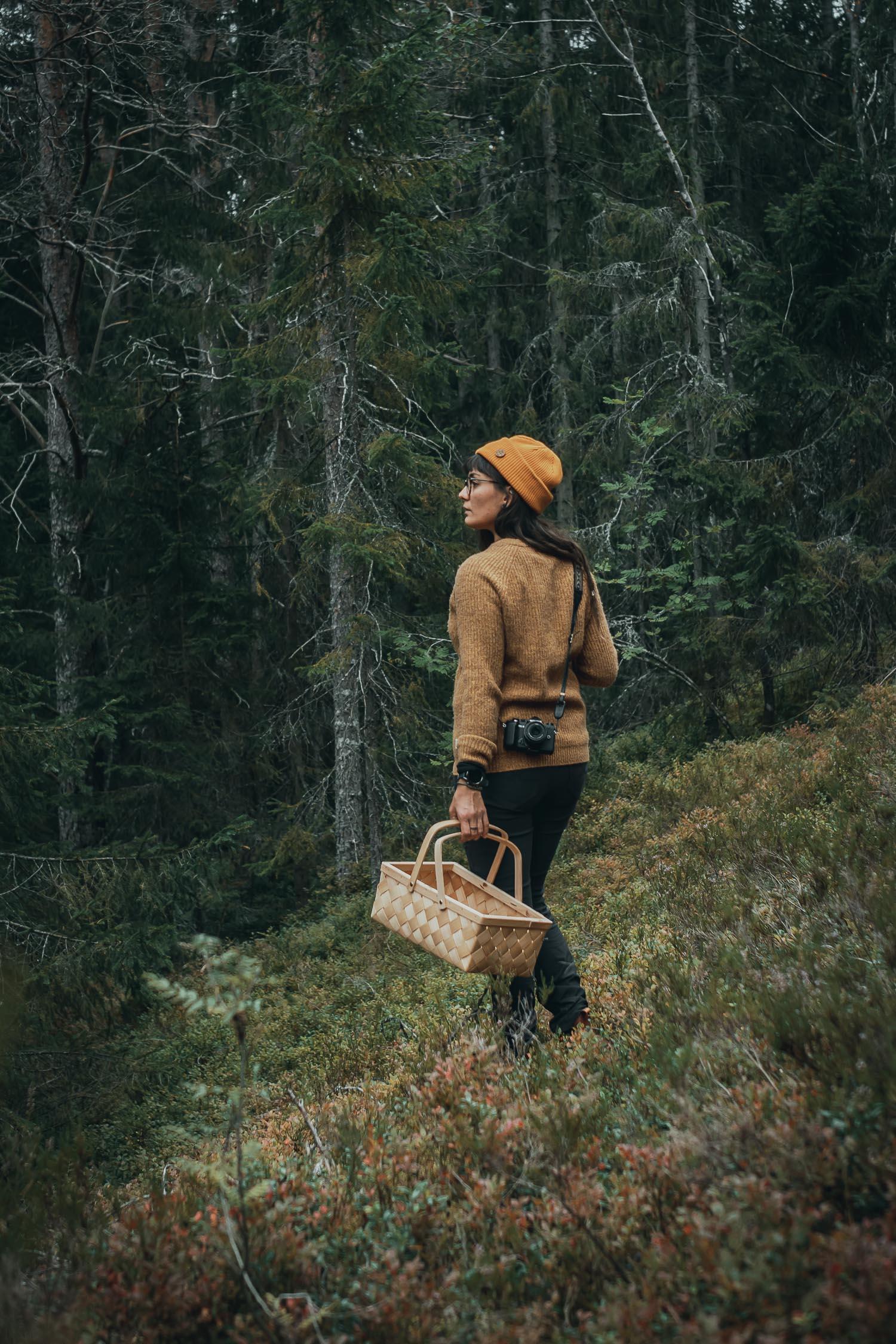 woman mushroom picking