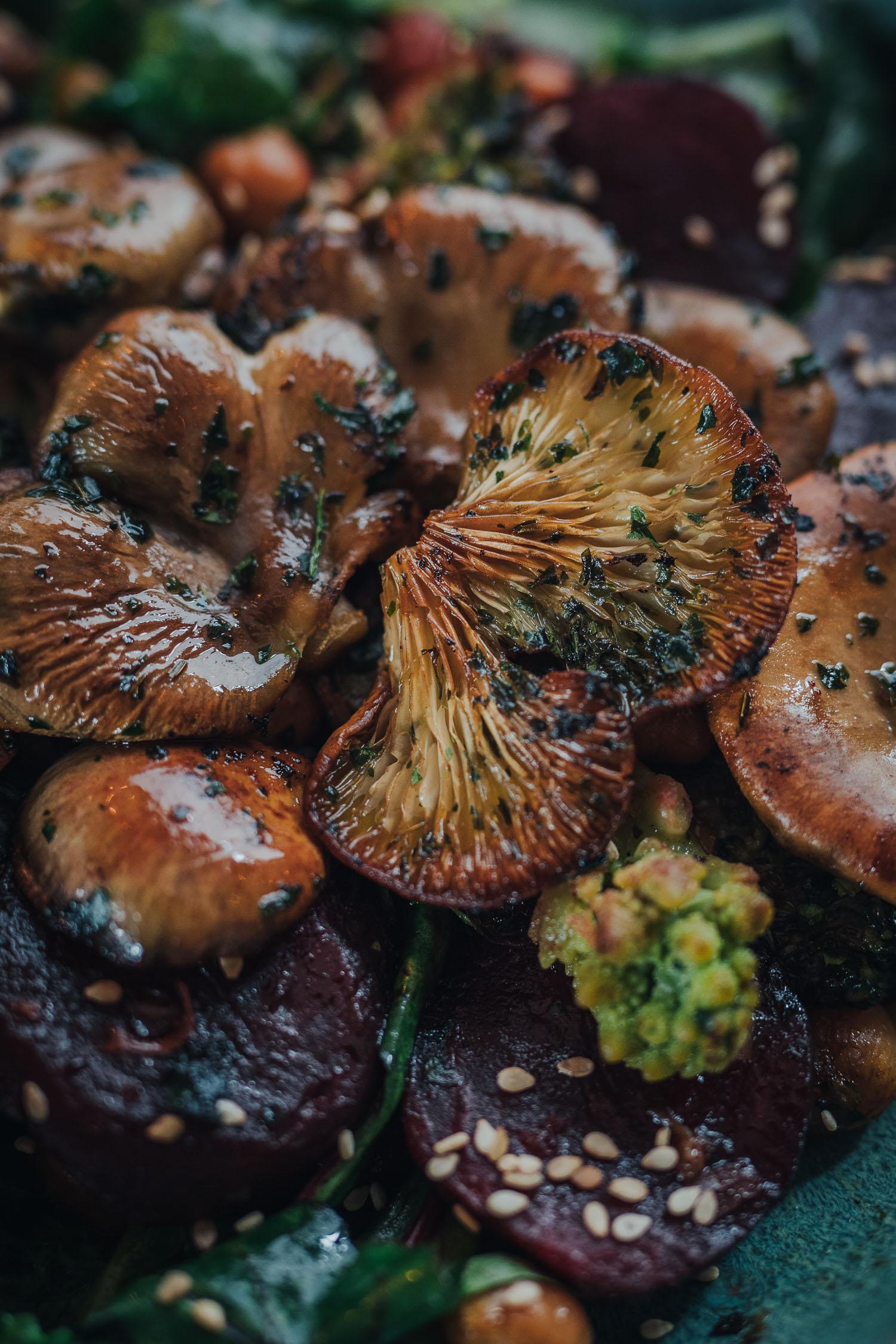 warm winter sallad with oyster mushrooms